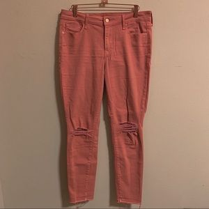 OLD NAVY BRIGHT CORAL RIPPED SKINNY JEANS